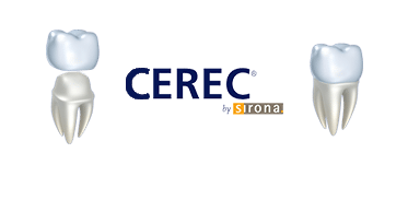 CEREC logo and Image of Dental Crowns